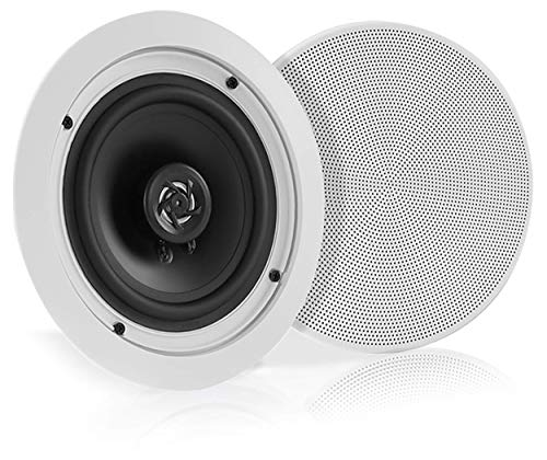 "Pyle 5.25"" Pair Bluetooth Flush Mount In-wall In-ceiling 2-Way Speaker System Quick Connections Changeable Round/Square Grill Polypropylene Cone & Polymer Tweeter Stereo Sound 150 Watt (PDICBT552RD) (Electronics)"