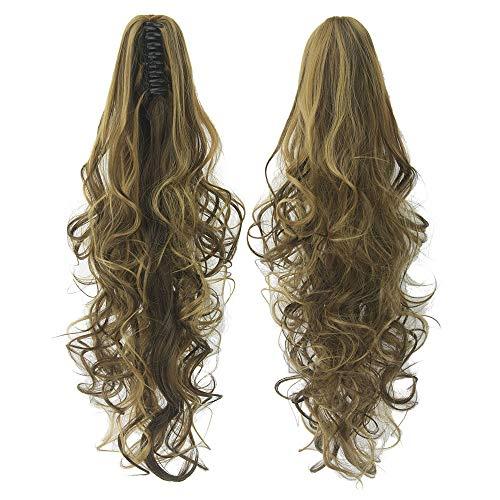 24 pouces longue griffe sur queue de cheval extension femmes cheveux bouclés ondulés queue de poney postiche Jaw Clip,Curly-Light-Brown