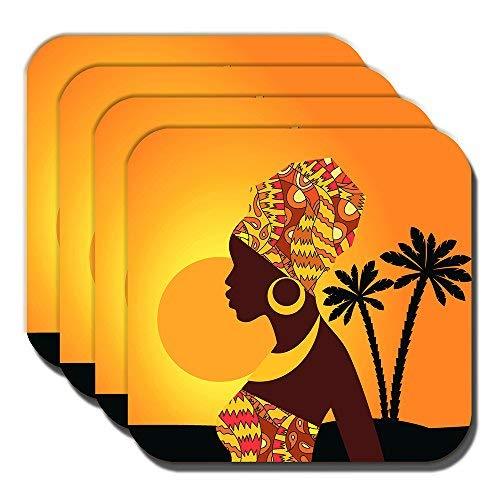 Cushions Corner African Tribal Lady Coasters Ethnic Sunset Palm Trees Orange - set of 4