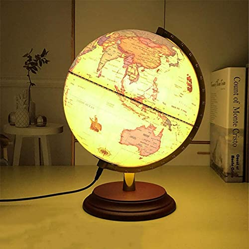 Globo decorativo antigo de 10 polegadas Vintage Desktop World Globo geográfico giratório Globo base de madeira Presente de casamento do globo educacional, A