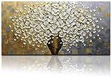Óleo Pintura flor Blanca Cuadros Decorativos Sobre lienzo , Pintura con espátula Florero Totalmente Pintada mano Pared 3D Cuadros art deco, Arte Abstracto Para Sala Comedor Recamara Cocina,Sin marco...