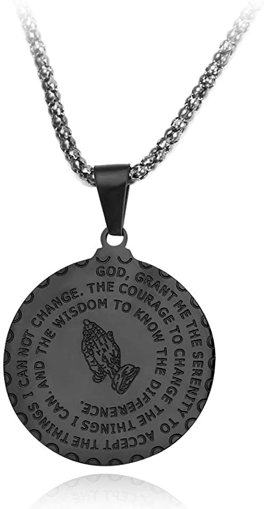 Bible Verse Prayer Necklace Free Chain Christian Jewelry Stainless Steel Praying Hands Coin Medal Pendant-Black