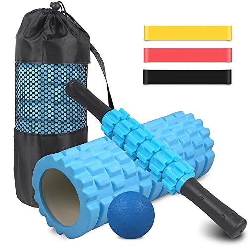 Foam Roller kit 4-in-1, Rullo in Schiuma, Rullo Massaggio, Bande Elastici Fitness [Set di 3], Palla Fitness con Borsa per Il Trasporto, Attrezzi da Palestra per Yoga, Stretching, Massaggio Muscolare