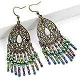 N\A Jewelry Gifts,Tassel Pierced Earrings,Long Womens Dangle Earrings,Bead pandant Dangle Earrings for Girl,Ladies Dangle Drop Earrings