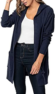 UONQD Women Long Sleeve Solid Pocket Cardigan Tops Sweater Knitted Hooded Coat