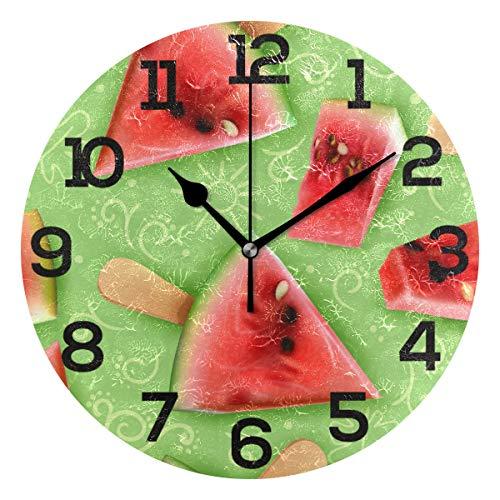 Amonka Sommeruhr, realistisch, appetitliches Wassermelonenmuster, rund, nicht tickend, lautlos, Acryluhren für Heimdekoration, Wohnzimmer, Schlafzimmer, Küche, Schule, Büro