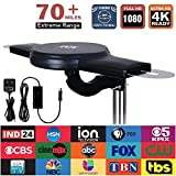 New Generation 360° Omni-Directional Amplified Outdoor HDTV Antenna with VHF UHF Enhanced 70 Miles Long Range Reception and Anti-UV Coating Design Fit Indoor/Outdoor/RV/Attic Use