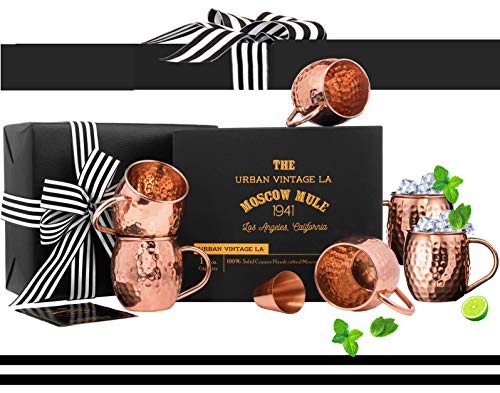 Moscow Mule Copper Mugs Set of 4 with Shot Glass & Recipe Book in Large Box, Premium Handcrafted Hammered 16 oz Real Copper Cups for Moscow Mules, Solid Copper Luxury Set