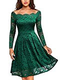MISSMAY Women's Vintage Floral Lace Long Sleeve Boat Neck Cocktail Party Swing Dress, X-Large, Green
