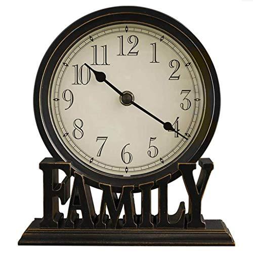 JINGMAI Relojes de Mesa Modernos, Sala de Estar Decoración de Escritorio Creativa Reloj Mudo Relojes Digitales Negro Reloj de Chimenea Moderno