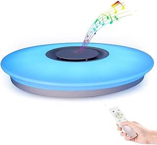 Horevo Luz de techo Plafón LED Lámpara de Techo con Altavoz Bluetooth, Certificado CE, 24W, 1800 Lúa Menes, 6500K Cool Blanco Calido Ajustable + Luz de Colores, APP + Mando a Distanci