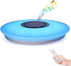 HOREVO Plafón LED Lámpara de Techo con Altavoz Bluetooth, 24W, 1800 Lúa Menes, 6500K Cool Blanco Calido Ajustable + Luz de Colores, APP + Mando a Distanci (Certificado CE)