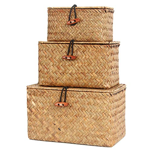FEILANDUO Shelf Baskets with Lid Set of 3 Handwoven Small Boxes Seagrass Storage Basket Desktop Makeup Organizer Multipurpose Container (Natural, S/M/L)