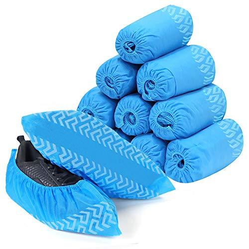Schuhüberzieher Einweg-Überschuhem, 100 Stück Anti-Rutsch Schuhüberzieher(50 Paar), Emitever Vliesstoff-Stiefelabdeckungen, rutschfest, robuste Stiefel für Innen/Außen, Schützt Teppiche/Fußböden