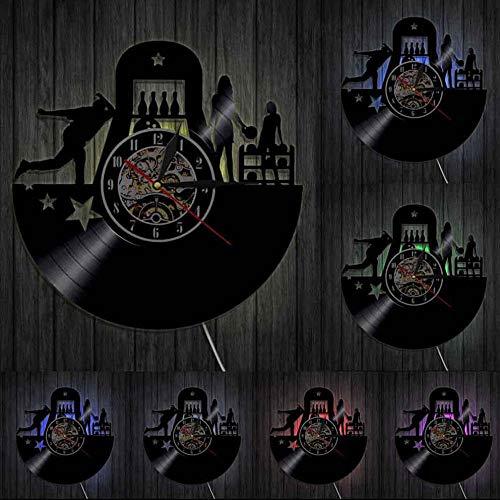 bbmmww Bowling Sport Wanduhr Bowling Club Wall Decor Vinyl Kunst Vinyl Record Clock Personalisierte Bowlers Clock Bowling Liebhaber Geschenk