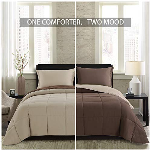 Homelike Moment Lightweight Comforter Set - Queen Brown Beige All Season Down Alternative Comforter Set Summer Duvet Insert 3 Piece - 1 Comforter with 2 Shams Reversible Full/Queen Size Brown/Beige