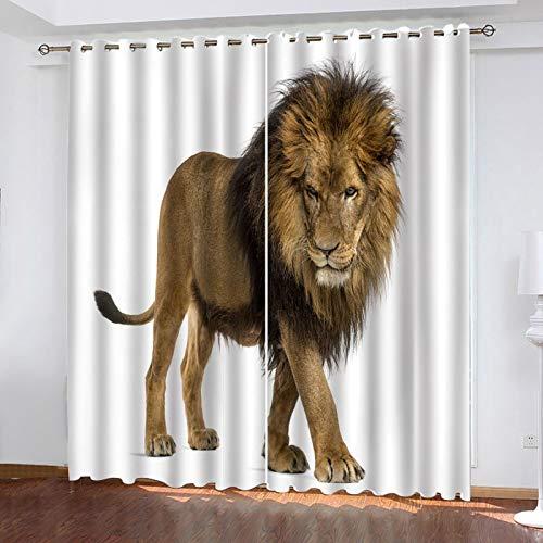 ZXPAG 3D Cortina Opaca Con Ojales Cortinas Térmicas Aislantes Decoración Ventanas - Impresión Digital Cocina De Dormitorio De La Sala De Estar - 264X160Cm - León Animal Del Bosque