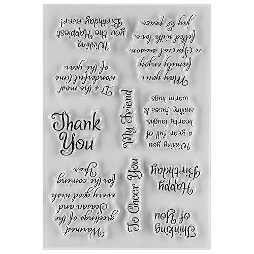 MaGuo Thank You and Friendly Phrase Clear Rubber Stamps for DIY Scrapbooking Paper Craft or Card Making Clearance Decoration
