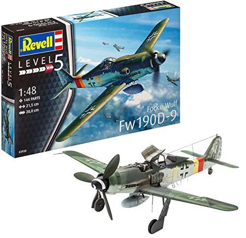 Revell Modellbausatz Flugzeug Focke Wulf Fw190 D-9 im Maßstab 1:48, Level 5, originalgetreue Nachbildung mit vielen Details, 03930