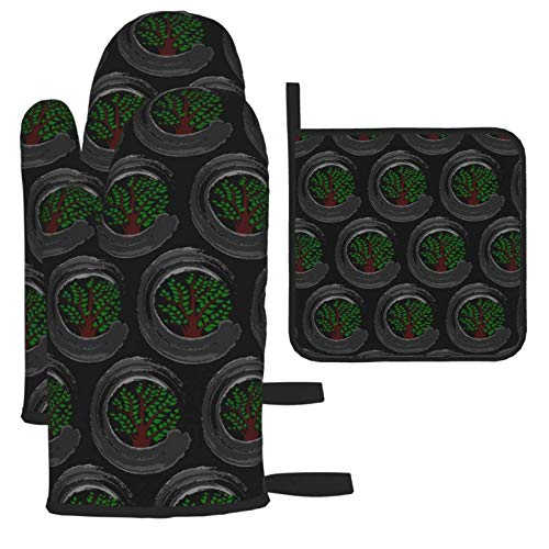 Pair of Grill Mitts and Potholders Set Thick Fashion Bonsai Tree Oven Gloves Kitchen and Square Hot Pad with Hanging Loop