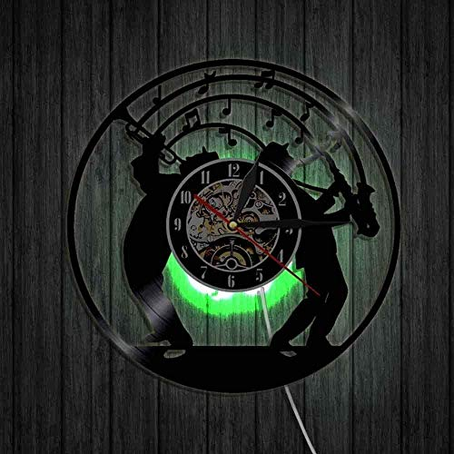 szhao Jazz Music Art Vinyl Wall Clock With Led Light Clock Art Jazz Band Music Lover Gift