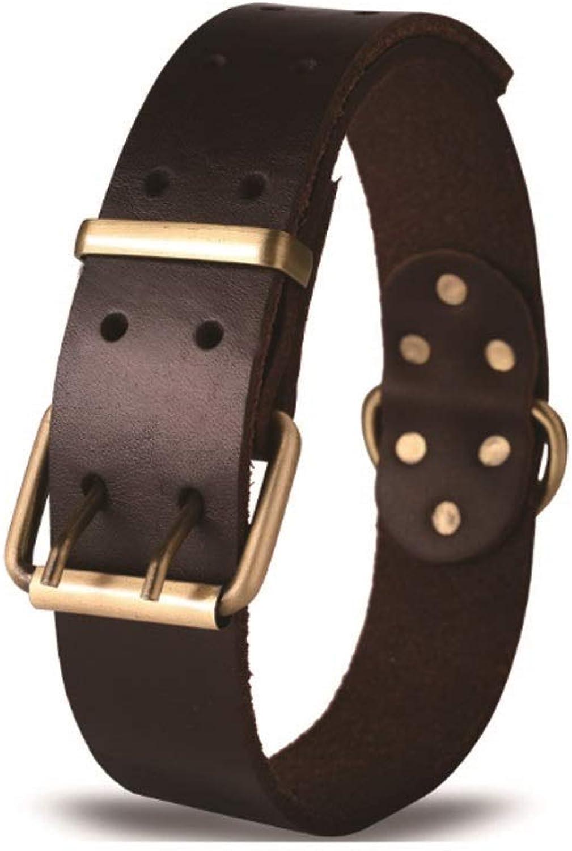 Leather Collar, Leather Dog Collar, Collar, Medium Large Dog Collar, Pet Supplies, Dark Brown,