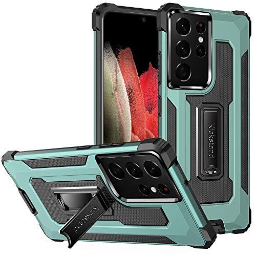 TOPOFU Funda para iPhone 12 Pro MAX 6.7', Funda Protectora para teléfono de Grado Militar con Soporte Mejorado [Soporte magnético], Suave Tapa Trasera de TPU, Verde