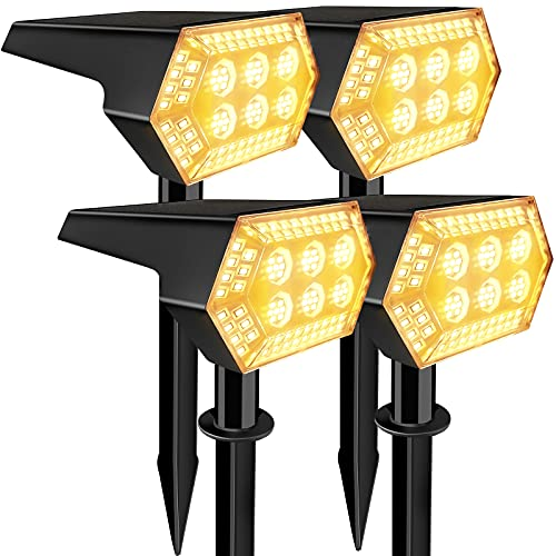 108 LED Luci Solari da Esterno, IP67 Faretti Solari a Paesaggio con 3 Modalità di Illuminazione, per Giardino Piscina Vialetto Patio[Bianco Caldo 4]