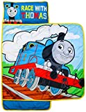 Jay Franco Thomas & Friends Racing Thomas Nap Mat - Built-in Pillow and Blanket - Super Soft Microfiber Kids'/Toddler/Children's Bedding, Age 3-5 (Official Mattel Product)