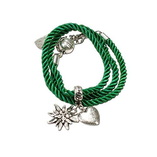 Alpenflüstern Trachten-Wickelarmband Edelweiß - Damen-Trachtenschmuck, Trachtenarmband, Kordel-Armband grün DAB026