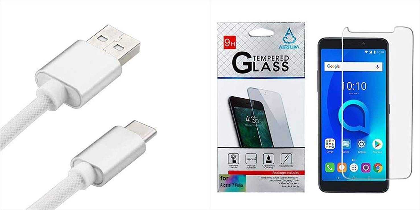 Combo Pack White USB Type-C Steel Mesh Data Cable 3 FT and Tempered Glass Screen Protector (2.5D) for ALCATEL 7 Folio ALCATEL T-Mobile Revvl 2 Plus