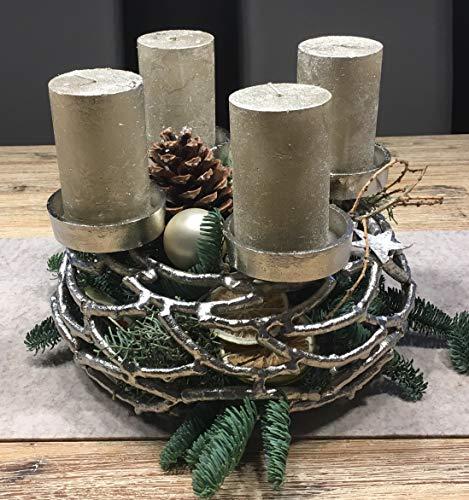 Kunstversteck Designer Adventskranz Kerzenleuchter Silber, 27cm, Metall, zum Befüllen und Dekorieren Kerzenhalter Weihnachten