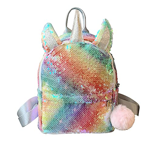 QHYDZ Mochila Unicornio, Mochila Escolar para Niñas Juveniles, Linda Bolsa de Moda para Viaje con Lentejuelas Regalo Para Cumpleaños Navidad