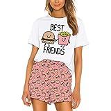 Schlafanzug Damen Sommer, Teenager Mädchen Süß Kurz Zweiteiliger Pyjama Beste Freunde Rolling Stones Leopard Lippen Katze Kurzarm T-Shirts Streifen Hose Nachtwäsche Hausanzug Sleepwear (BZA003,S)