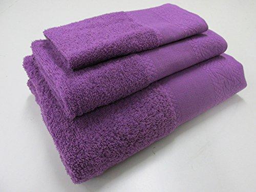 Confort Home M.T (Morado) Juego de Toallas de baño 3 Piezas REGALITOSTV (1 Toalla de baño, 1 Toallas de Manos y 1 Toalla Cara) 100% algodón, Toallas Ligeras y absorbentes. (Morado)
