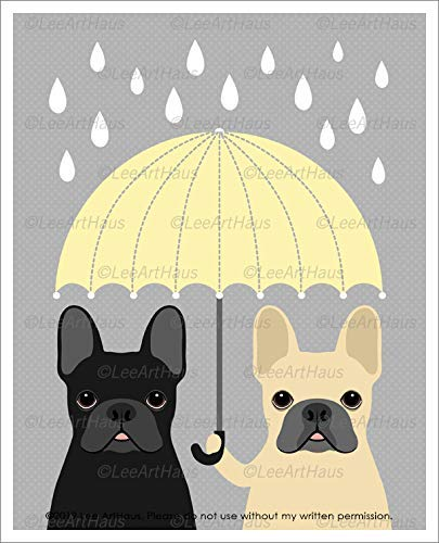 680D - Two French Bulldogs Holding Yellow Umbrella UNFRAMED Wall Art Print by Lee ArtHaus