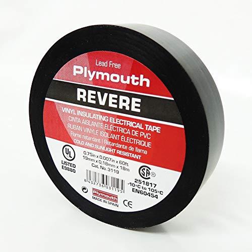 "Plymouth Brand General Purpose Vinyl Electrical Tape, Black .75"" x 60"" 7mil 500V"