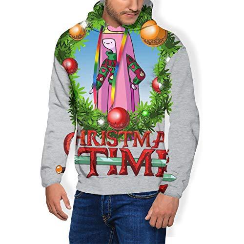 Adventure Christmas Time Kranz Prinzessin Bubblegum Cartoon Network Herren Fashion Sweatshirt Kapuzenpullover Taschen Plus Samt Gr. XXXL, Schwarz