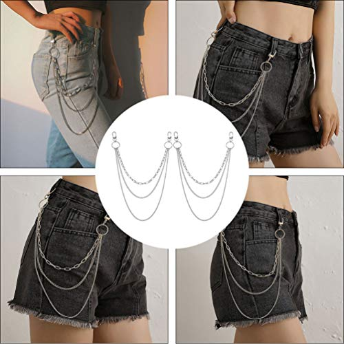 Tomaibaby 2Pcs Capa Multicapa Jeans Cadena Mujer Cintura Pantalones Cadena Plateada Retro Hip Hop Danza Pantalones Falda Cadena