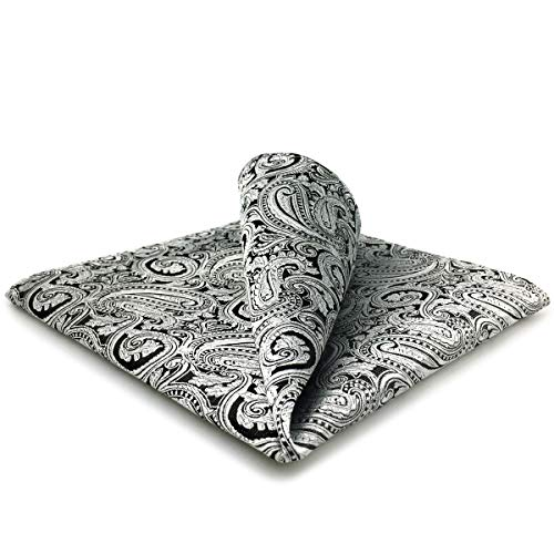 SHLAX&WING Matching Pocket Square 12.6 inches Large Silk Silver Black Paisley