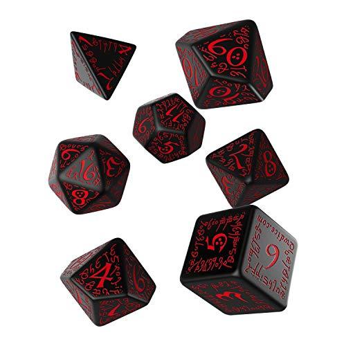 Q WORKSHOP Elvish Black & red RPG Ornamented Dice Set 7 Polyhedral Pieces