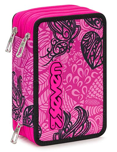Astuccio 3 Zip Seven Colorflower, Rosa, Con materiale scolastico: 18 pennarelli Giotto Turbo Color, 18 matite Giotto Laccato…