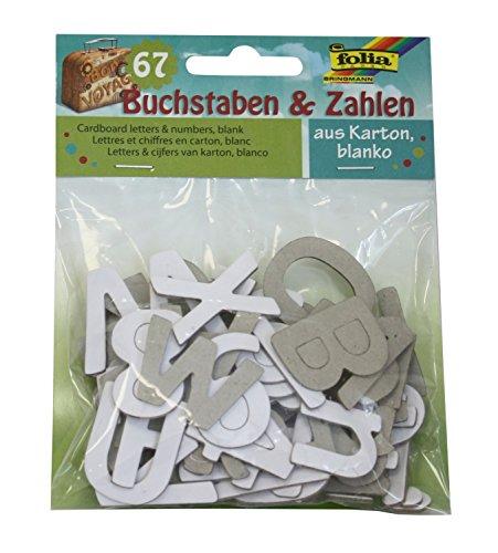folia 12810 - Karton Stanzteile Buchstaben und Zahlen, 67 Teile, weiß, Größe ca. 2,7 - 3,5 cm - ideal zum Verzieren von Grußkarten, Bastelarbeiten, Scrapbooking