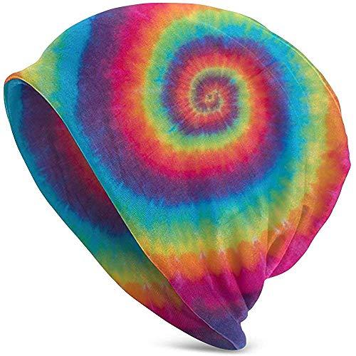 Peeeenny Beeen Bunter Tie Dye Swirl Beanie Hut für Männer und Frauen Winter Warm Hats Black