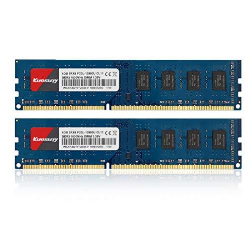 Kuesuny 8Go Kit (2x4Go) DDR3L 1600MHz PC3l-12800u DDR3L 1600MHz udimm dimm 4GB 2Rx8 PC3 12800U 240-Pin CL11 1.35V 1.5v Mémoire pour Ordinateur de Bureau