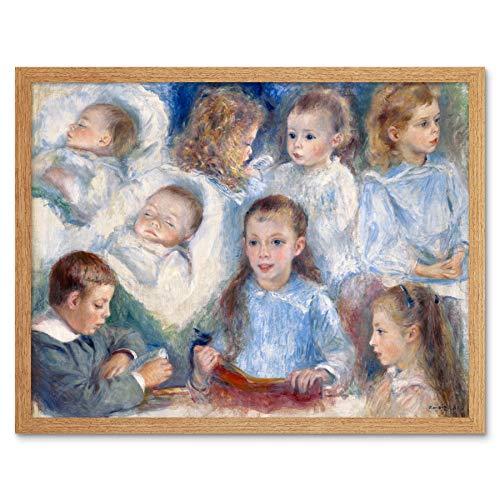 Renoir Sketches of Heads The Berard Children Painting Art Print Framed Poster Wall Decor 12x16 inch Skizzieren Kinder Gem�lde Wand Deko