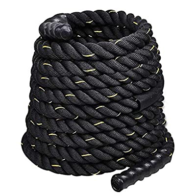 Wrth 1 Inch Polyester 30ft Pro Battle Ropes, Heavy Battle Rope for Strength Training, Cardio Workout, Crossfit, Fitness Exercise Rope (40)