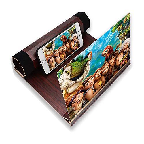 TanexBo Telefon-Bildschirmlupe Zoomt 2-6 mal, 12-Zoll-3D-Bildschirmverstärker-Vergrößerer mit Strahlenschutz, tragbarer Home Cinema-Handyverstärker für alle Smartphones(Dunkelrot)