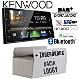 Autoradio Radio Kenwood DMX7018DABS -   Bluetooth   DAB+ Digitalradio   AndroidAuto   Apple CarPlay   Zubehör - Einbauset für Dacia Lodgy silber 2DIN - JUST SOUND best choice for caraudio