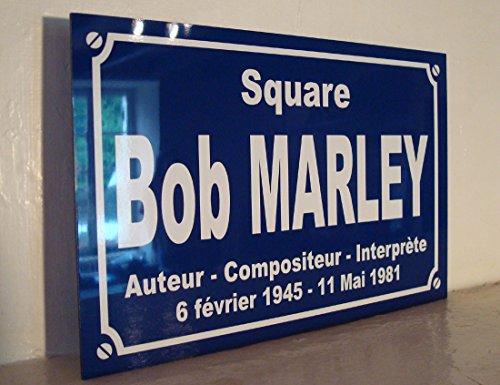 Noir & Mat Sérigraphie BOB Marley Jamaique Rasta Reggae Plaque de Rue Square BOB Marley